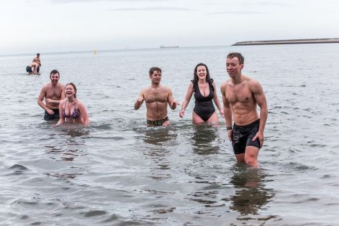Paul Nolan, Grainne Fay, Thomas Deckers, Maeve Rafferty and Patrick Lee go for their first swim of the year at Seapoint in south Dublin. Photograph: James Forde/The Irish Times