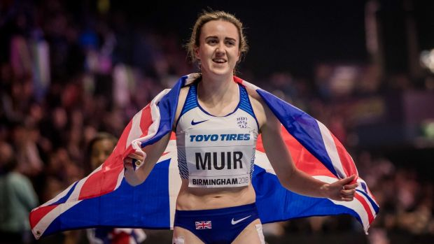 Laura Muir celebrates claiming silver in the Women's 1,500m Final at the IAAF World Indoor Championships in Birmingham in March 2018. Photograph: Morgan Treacy/Inpho