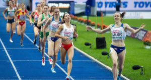 Laura Muir of Great Britain winning the Women's 1,500m final at the 2018 European Athletics Championships in  Berlin last August. Ireland's Ciara Mageean came in fourth. Photograph: Morgan Treacy/Inpho