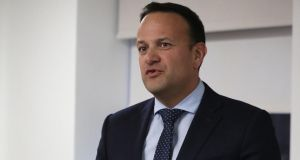 Taoiseach Leo Varadkar speaks to the media following a meeting at the Irish Secretariat offices in Belfast on Friday. Photograph: Brian Lawless/PA Wire