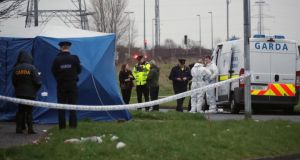 The scene of the fatal shooting on Friday at Foxdene, Clondalkin. Photograph:  Colin Keegan/Collins
