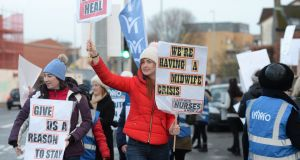 Nurses and midwives protesing outside the Coombe  hospital in Dublin last month. Photograph: Alan Betson