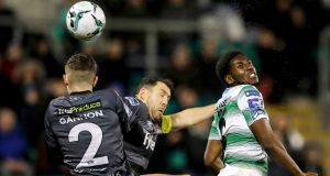 Shamrock Rovers' Dan Carr challenges with Sean Gannon and Brian Gartland during his side's goalles draw with Dundalk. Photograph: Ryan Byrne/Inpho