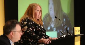 Alliance Party leader Naomi Long addresses her party conference at the Stormont Hotel in Belfast on Saturday. Photograph: Niall Carson/PA