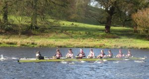 Trinity's women's senior eight on their way to winning at the Erne Head of the River. Photograph: Liam Gorman