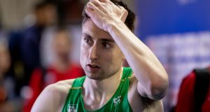 Ireland's Mark English after finishing fifth in the semi-finals of the 800m  at the European Athletics Indoor Championships in Glasgow. Photograph: Morgan Treacy/Inpho
