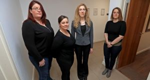 From left are  Barbara Byrne, Hazel Gleeson, Mai Barrett and Joanne Tyrrell at Marrsfield Avenue apartments in Dublin. Photograph: Donall Farmer/The Irish Times