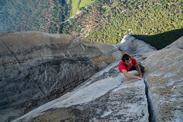 Alex Honnold nears the top of El Capitan. Photograph: Jimmy Chin/National Geographic