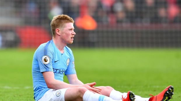 Manchester City's Kevin De Bruyne after sustaining an injury. Photograph: Dylan Martinez/Reuters