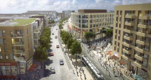 An artists impression of the  proposed town centre at Cherrywood in Dublin.