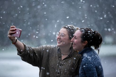 Sarah Garrett and Helen Dyson take a snowy selfie in St Anne's Park, Dublin 3. Photograph: Tom Honan/The Irish Times.