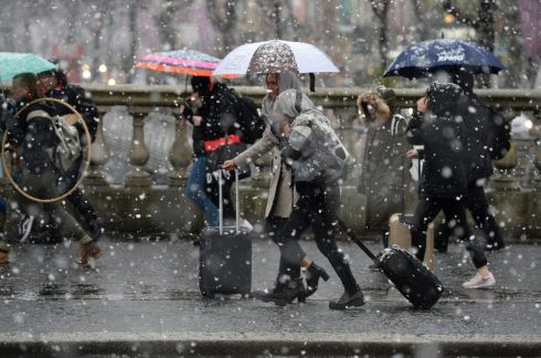 Snow, sleet and rain fell in Dublin city centre on Sunday. Photograph: Dara Mac Donaill/The Irish Times