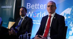 Taoiseach Leo Varadkar and Tánaiste Simon Coveney during the Government's launch of A Better World, February 28th. Photograph: Brian Lawless/PA Wire