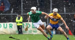 Limerick's Kyle Hayes with Colm Galvin of Clare during their Allianz Hurling League Division 1A encounter. Photo: Lorraine O'Sullivan/Inpho
