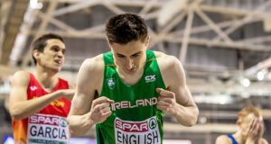 Ireland's Mark English celebrates after winning a bronze medal in the men's 800m final. Photograph: Morgan Treacy/Inpho