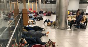 Passengers forced to sleep overnight in Dublin Airport on Sunday. Photograph: Paul Cullen