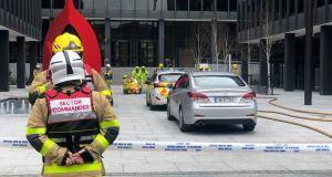 Emergency services at the scene at the Department of Health on Baggot Street. Photograph: Conor Pope