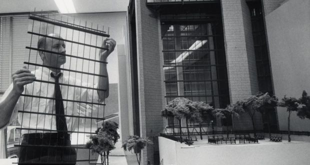 Kevin Roche: the late architect with a model of his Ford Foundation building in New York. Photograph: Kevin Roche John Dinkeloo and Associates