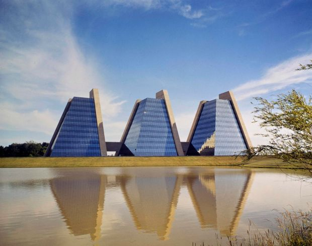 Kevin Roche: the late architect's trio of glass pyramids that were completed in 1971 as the headquarters of the College Life Insurance Company, in Indianapolis. Photograph: Kevin Roche John Dinkeloo and Associates