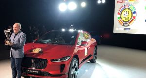 Jaguar's design director Ian Callum celebrates the I-Pace victory in the prestigious Car Of The Year 2019 awards
