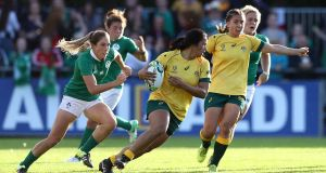 Australia's Liz Patu runs with the ball  against Ireland during the 2017 Rugby World Cup in Dublin. Photograph: David Rogers/Getty Images