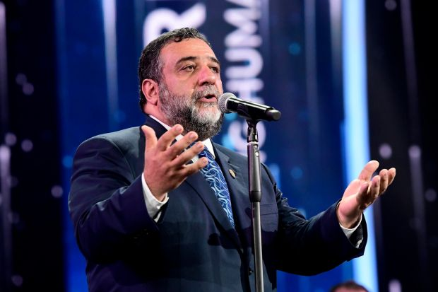 Ruben Vardanyan offers remarks during the 2017 Aurora Prize Ceremony at the Karen Demirtchian Sport/Concert Complex on May 28th, 2017 in Yerevan, Armenia. Photograph: Victor Boyko/Getty for Aurora Humanitarian Initiative