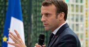 "French president Emmanuel Macron: ""Never, since the second World War, has Europe been as essential. Yet never has Europe been in so much danger."" Photograph: Caroline Blumberg/EPA"