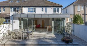 Granite patio and south-west facing garden to the  rear of  25 Farmhill Road, Goatstown, D14