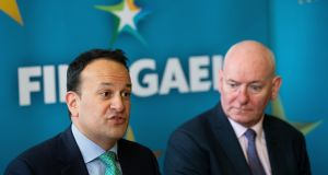 Former SDLP leader Mark Durkan with Taoiseach Leo Varadkar as he was announced as a Fine Gael candidate for the European elections in Dublin. Photograph: Tom Honan/The Irish Times.