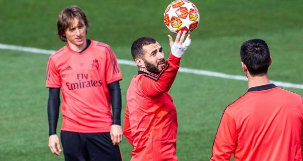 4611ddbcc Real Madrid players Luka Modric and Karim Benzema during training ahead of  their Champions League clash