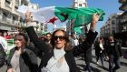 Algerian protesters chant slogans during a protest against the fifth term of Abdelaziz Bouteflika in Algiers, Algeria, on Friday.  Photograph: Mohamed Messara/EPA