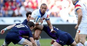 "France's Gael Fickou in action during the victory over Scotland. ""I know that our fans are also very critical, it's normal. Their disappointment, I understand it. I share it."" Photograph: Billy Stickland/Inpho"