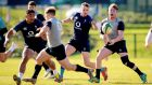 Ireland Under-20 captain David Hawkshaw taking part in an open training session  against the Ireland senior side at Queen's University in Belfast. Photograph: Tommy Dickson/Inpho