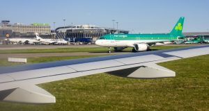 An Aer Lingus aircraft on the tarmac at Dublin Airport.