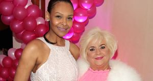 Ann Eble and Samantha Mumba at the 'Battle of the Stars' for Breast Cancer Ireland. Photograph: Brian McEvoy