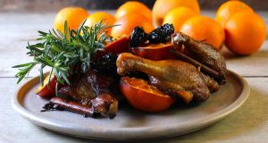 Crispy duck legs with clementine and sherry