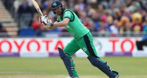 Andrew Balbirnie made 145 not out in Ireland's four-wicket victory over Afghanistan in Dehradun, India. Photograph:   Michael Steele/Getty Images