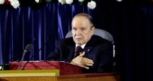President Abdelaziz Bouteflika pictured during a swearing-in ceremony in Algiers after easily winning an election opponents dismissed as fraudulent in 2014. Photograph: Louafi Larbi/Reuters