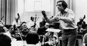 André Previn conducting the London Symphony Orchestra. He was its musical director from 1968 to 1979. Photograph: John Minihan/Getty Images