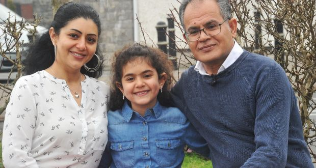 Zuhair Fakir, his wife Angham and their  daughter Lorca (8), who now live in Dunshaughlin, Co Meath. Photograph: Seamus Farrelly/UNHCR