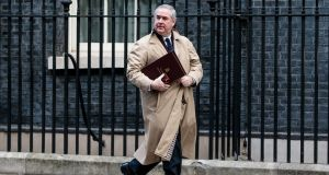 Attorney general Geoffrey Cox leaves following the weekly cabinet meeting at 10 Downing Street on Tuesday.  Ministers continue to seek legally-binding changes to Theresa May's Brexit deal in order to get backing from MPs when they vote on the deal in parliament next week. Photograph:  Jack Taylor/Getty Images