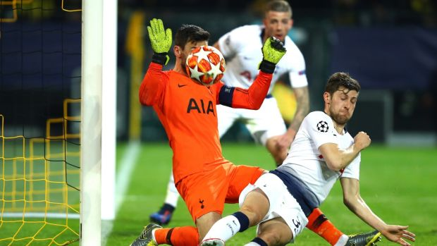 Tottenham Hotspur goalkeeper Hugo Lloris makes a save during the Champions League round of 16 second leg against Borussia Dortmund at the Westfalen Stadium. Photograph: Dean Mouhtaropoulos/Getty Images