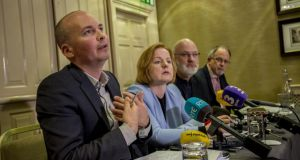 From left to right: Paul Murphy, Ruth Coppinger TD, Cllr Michael Murphy and Mick Barry TD pictured in 2017.  Photograph: Brenda Fitzsimons/The Irish Times