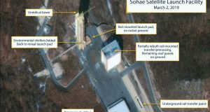 North Korea: The Sohae Satellite Launching Station launch pad features what researchers  describe as showing the partially rebuilt rail-mounted rocket transfer structure. Photograph: CSIS/Beyond Parallel/DigitalGlobe 2019/Reuters