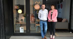 Arthur and Grainne Cassidy outside their store, Pieces, on South Great George's Street. Photograph: Alan Betson
