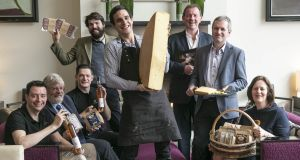 Irish Food Writers' Guild  award winners: David Watson of Killahora Orchards; Andrew Workman of Dunany Flour; Barry Walsh of Killahora Orchards; Charlie Cole of  Broughgammon Farm;  Jean Baptiste Enjelvin of  Hegarty Cheese; Peter Hannan of Hannan Meats; Dan Hegarty of  Hegarty Cheese; Leonie Workman of Dunany Flour. Photographs: Paul Sherwood