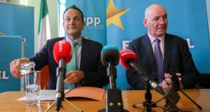 Taoiseach Leo Varadkar with Mark Durkan. By selecting the former SDLP leader as a candidate, he has demonstrated an appreciation of nationalist frustration with politics in Belfast and London. Photograph: Gareth Chaney/Collins