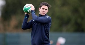 Joey Carbery during Ireland's training session at Carton House on Wednesday. Photograph:  Dan Sheridan/Inpho