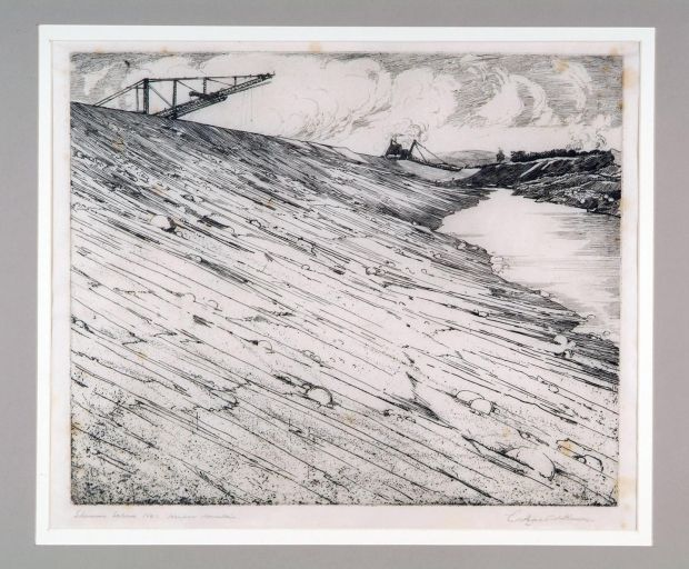 George Atkinson, Shannon Scheme No 1: Keeper Mountain, Etching. CourtesyCrawford Art Gallery, Cork