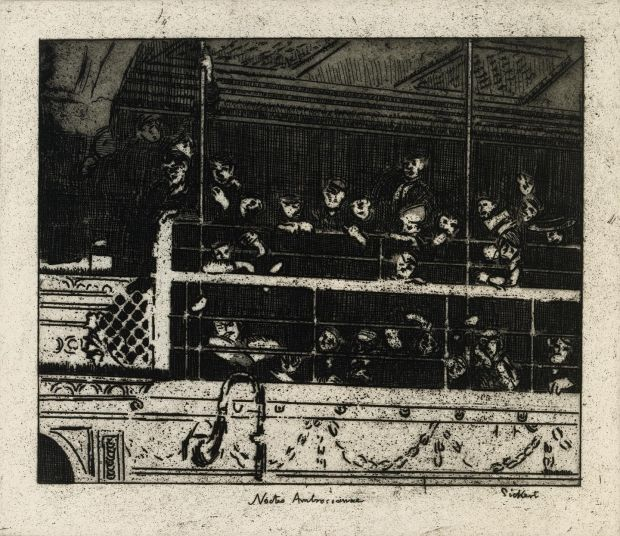 Walter Sickert, Noctes Ambroisanae, c. 1908, etching and aquatint. Courtesy National Gallery of Ireland